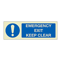 Emergency exit keep clear (Marine Sign)