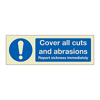 Cover all cuts and abrasions (Marine Sign)