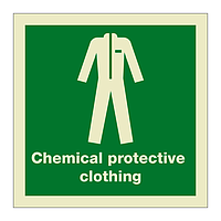 Chemical Protective Clothing with Text (Marine Sign)