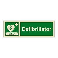 AED Defibrillator with text (Marine Sign)