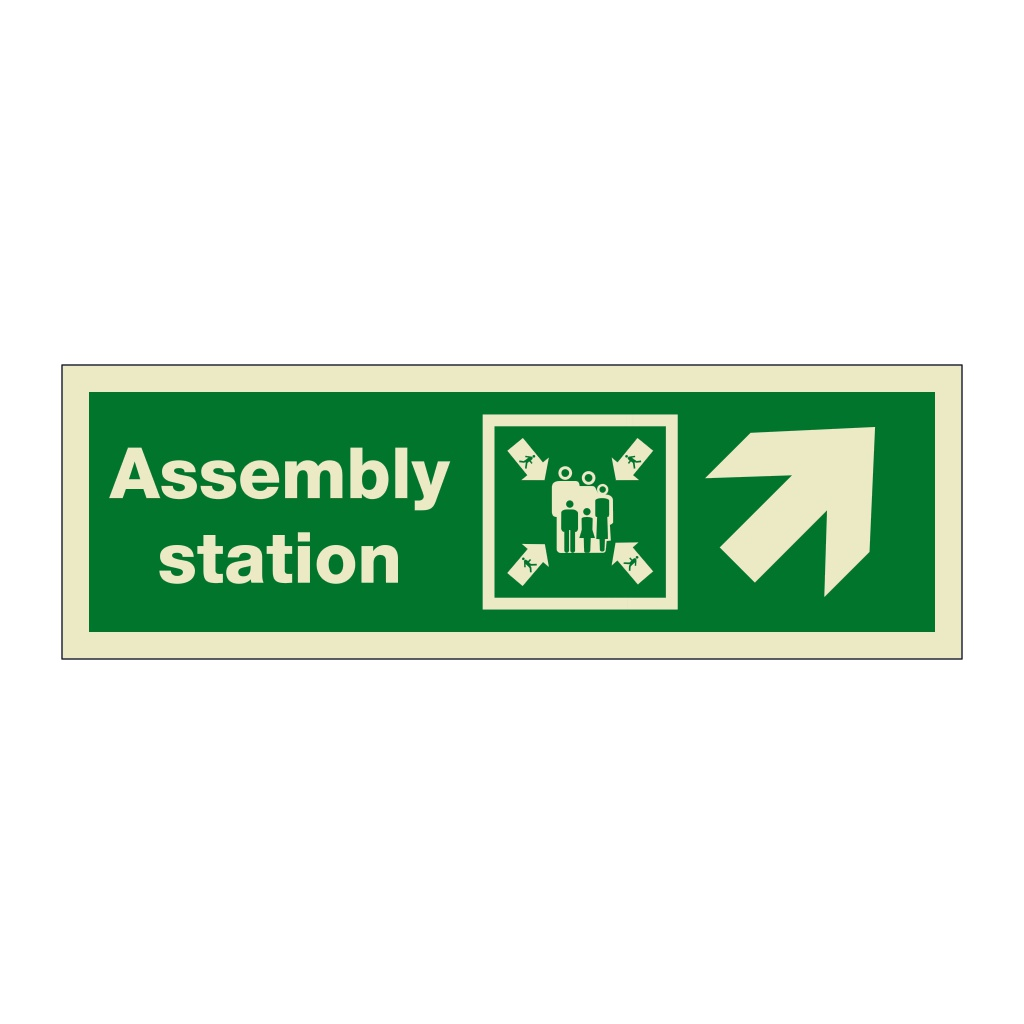 Assembly Station with Up Right Directional Arrow (Marine Sign)