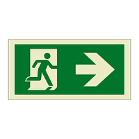 Evacuation Route Running Man with Arrow Right (Marine Sign)