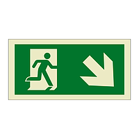 Evacuation Route Running Man with Arrow Down Right (Marine Sign)