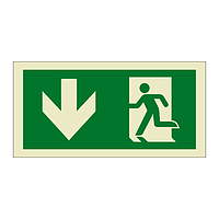 Evacuation Route Running Man with Arrow Down (Marine Sign)