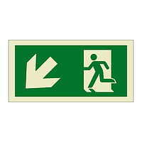 Evacuation Route Running Man with Arrow Down Left (Marine Sign)