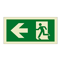 Evacuation Route Running Man with Arrow Left (Marine Sign)