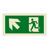 Evacuation Route Running Man with Arrow Up Left (Marine Sign)