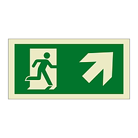 Evacuation Route Running Man with Arrow Up Right (Marine Sign)