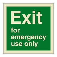 Exit for Emergency Use Only (Marine Sign)