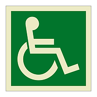 Escape Route Wheelchair Facing Right symbol (Marine Sign)