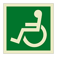 Escape Route Wheelchair Facing Left symbol (Marine Sign)