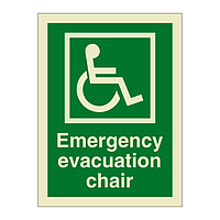 Emergency Evacuation Chair with Text (Marine Sign)