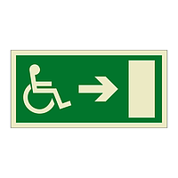 Escape Route Wheelchair with Arrow Right (Marine Sign)