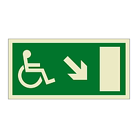 Escape Route Wheelchair with Arrow Down Right (Marine Sign)