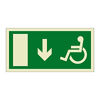 Escape Route Wheelchair with Arrow Down (Marine Sign)