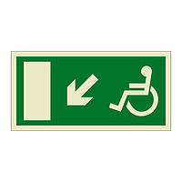 Escape Route Wheelchair with Arrow Down Left (Marine Sign)