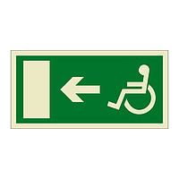 Escape Route Wheelchair with Arrow Left (Marine Sign)
