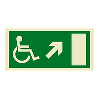 Escape Route Wheelchair with Arrow Up Right (Marine Sign)