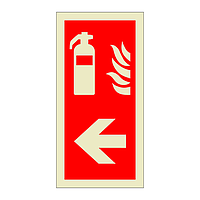 Fire Extinguisher Left Directional Arrow (Marine Sign)