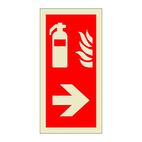 Fire Extinguisher Right Directional Arrow (Marine Sign)