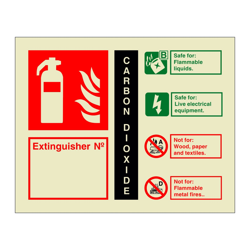 Carbon Dioxide Extinguisher Identification with number (Marine Sign)