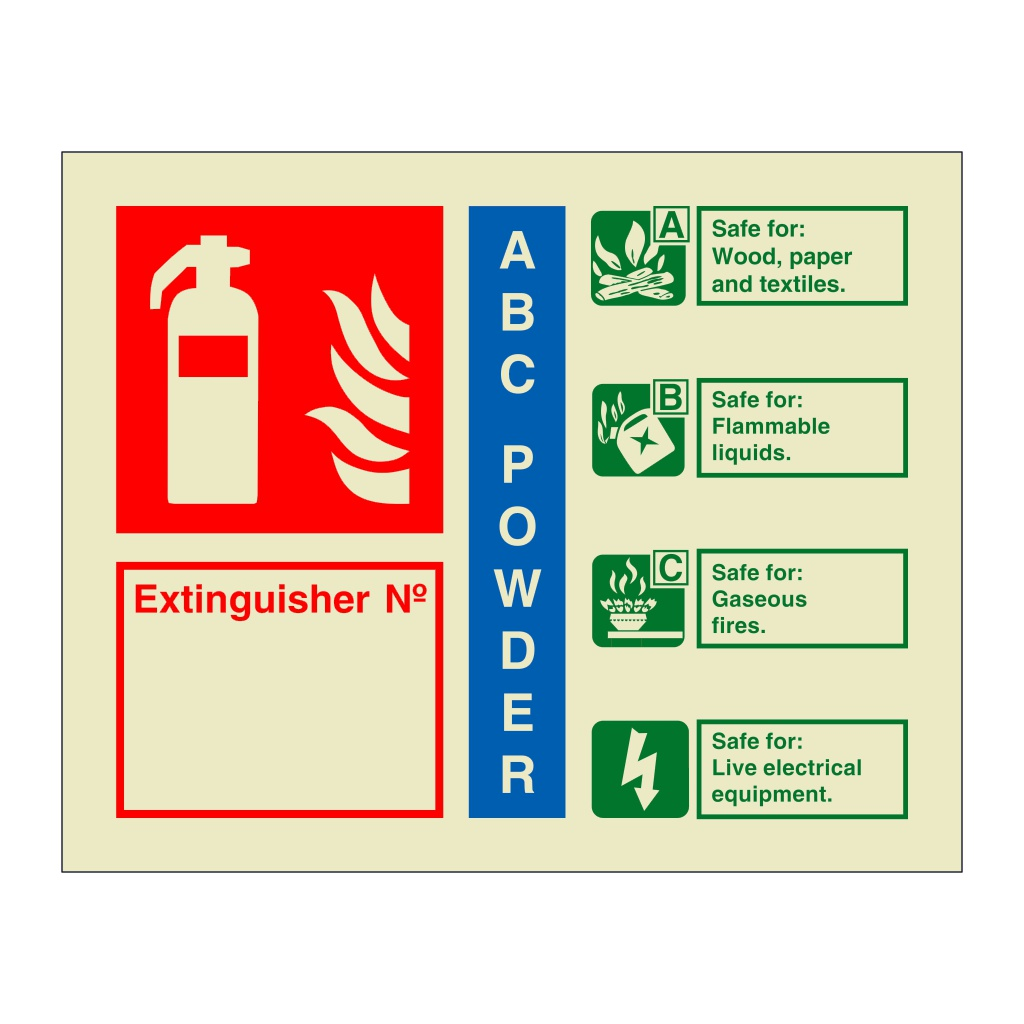 ABC Powder Extinguisher Identification with number (Marine Sign)