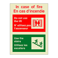 In Case of Fire Do Not Use the Lift Bilingual English French (Marine Sign)