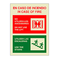 In Case of Fire Do Not Use the Lift Bilingual English Spanish (Marine Sign)