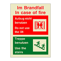 In Case of Fire Do Not Use the Lift Bilingual English German (Marine Sign)