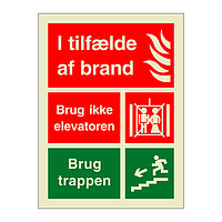 In Case of Fire Do Not Use the Lift Danish (Marine Sign)