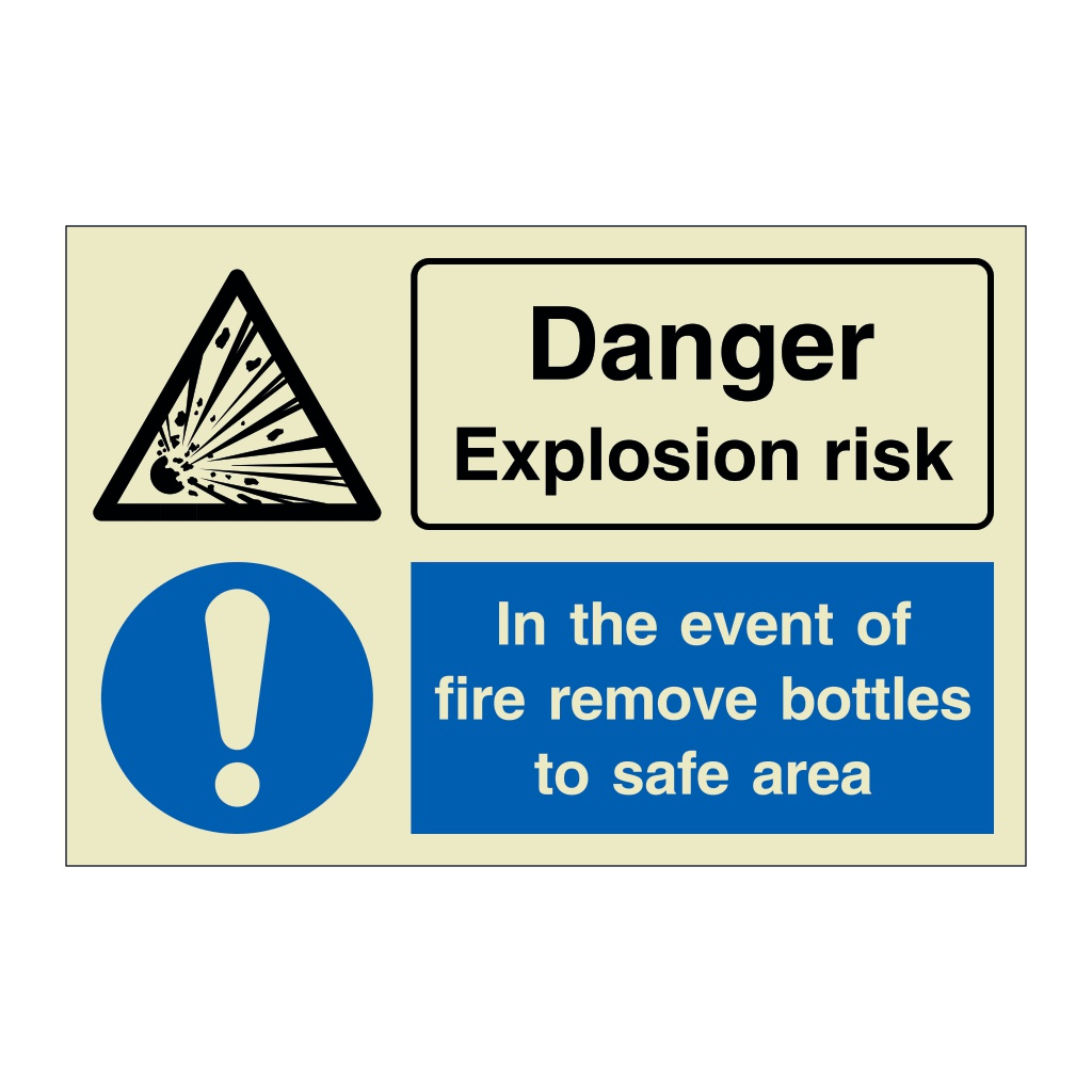 Danger Explosion Risk In the event of fire remove bottles to safe area (Marine Sign)