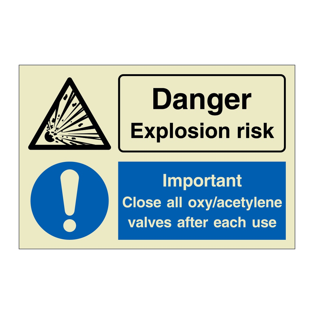 Danger Explosion Risk Important Close All Oxy Acetylene Valves After Each Use (Marine Sign)