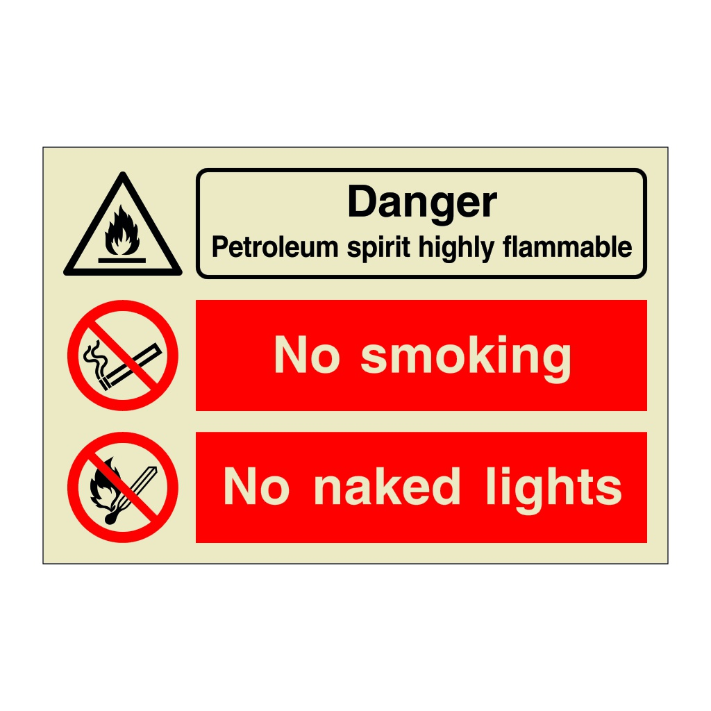 Danger Petroleum Spirit Highly Flammable No Smoking No Naked Lights (Marine Sign)